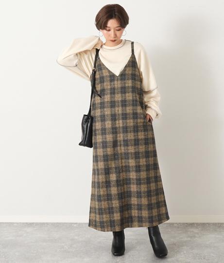 チェックキャミソールワンピース(ワンピース・ドレス/ロングワンピ・マキシ丈ワンピース)   Factor=