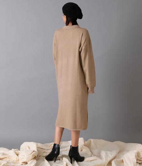 シャツライクニットワンピース(ワンピース・ドレス/ロングワンピ・ミディアムワンピ) | Alluge