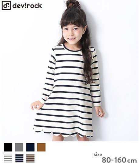 子供服 キッズ ガールズデザインワンピース スカラップ 女の子 ベビー トップス ワンピース 韓国子供服