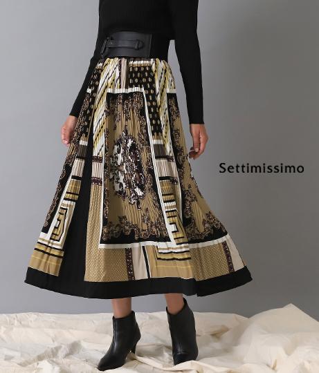 スカーフ柄ケシプリーツスカート