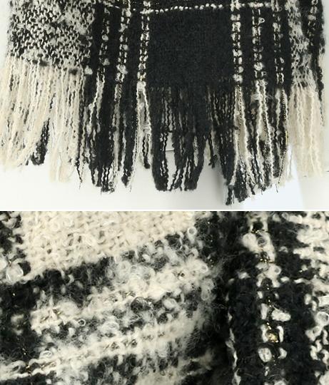モノトーン×ゴールドチェック柄ブークレストール(ファッション雑貨/マフラー・ストール ・スヌード・スカーフ ) | anap Latina