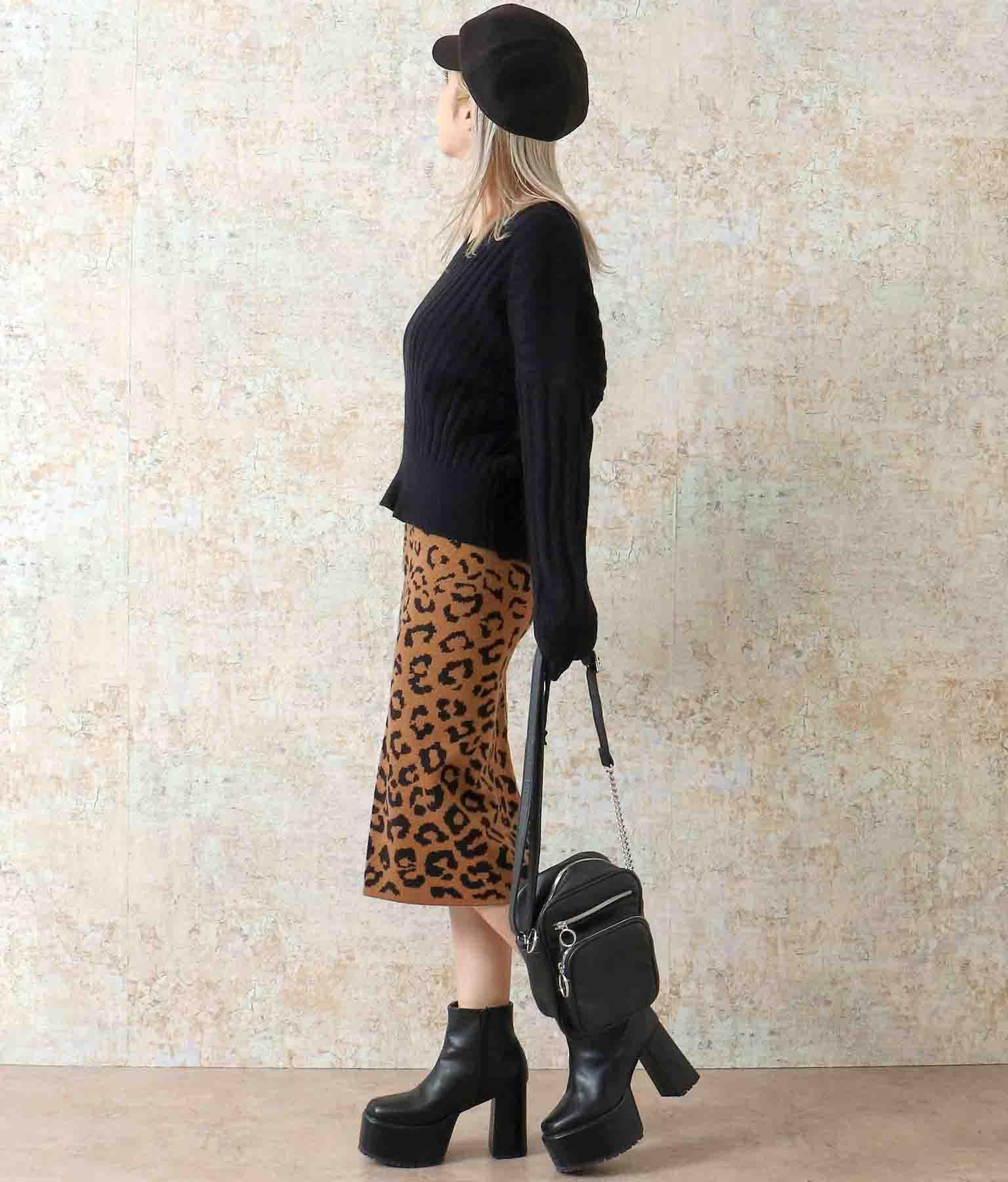 レオパードバックスリットニットスカート(ボトムス・パンツ /ニットスカート ・ミモレ丈スカート・スカート)   ANAP