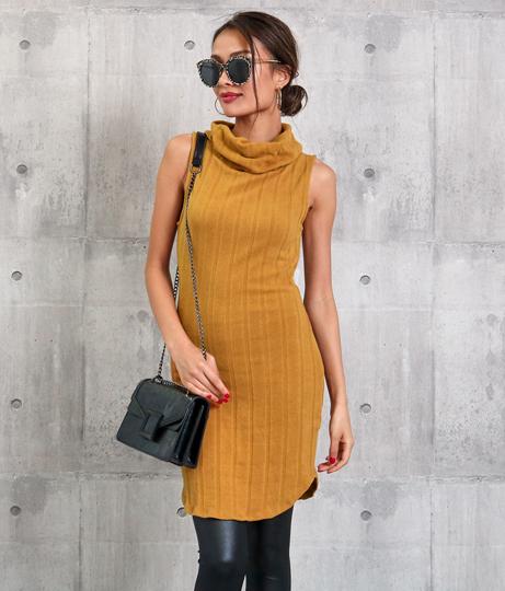 オフタートルワイドリブノースリーブニットワンピース(ワンピース・ドレス/ミニワンピ・パーティードレス・タートルニットワンピース) | Anap USA