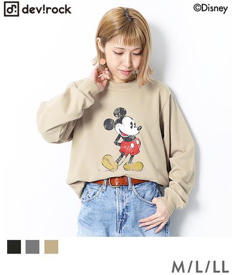 Disney ディズニー ミッキー柄スウェットトレーナー 大人サイズ レディース メンズ 長袖 長そで