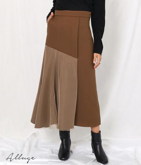 チュールレイヤードアシメデザインスカート