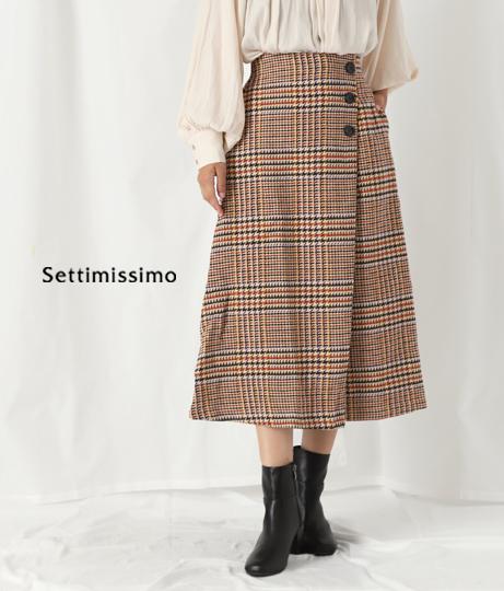 ハウンドトゥースサイドボタンフレアスカート(ボトムス・パンツ /スカート) | Settimissimo