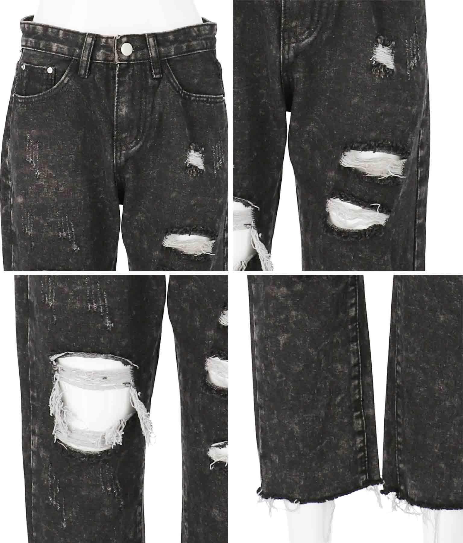 ハイダメージブラックデニムパンツ(ボトムス・パンツ /クラッシュジーンズ・ロングパンツ)   ANAP