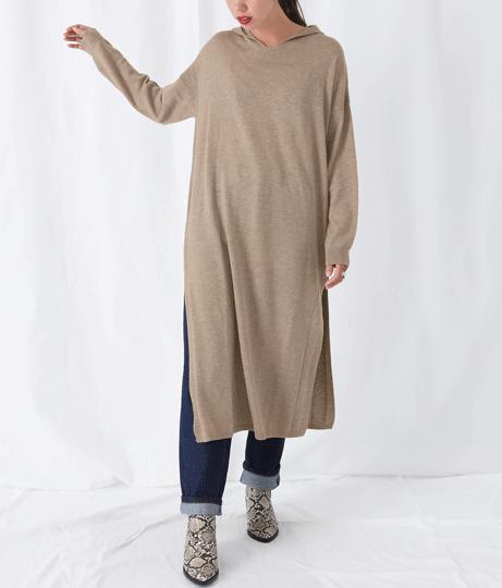 スリットフードニットワンピース(ワンピース・ドレス/ロングワンピ・マキシ丈ワンピース)   Alluge