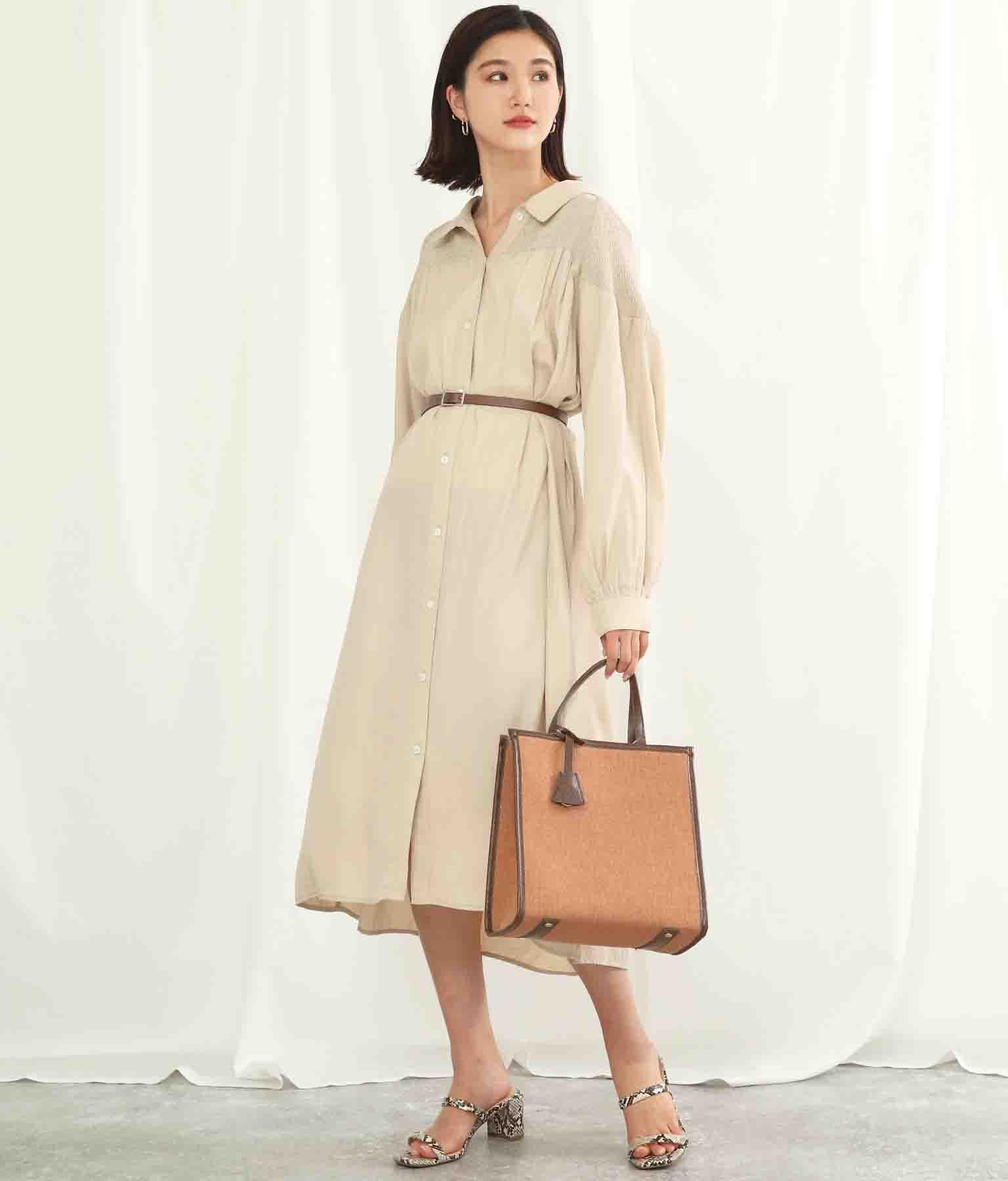 ベルト付きヨークシャーリングワンピース(ワンピース・ドレス/ロングワンピ) | Alluge