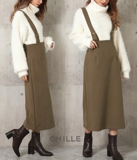 サスペンダー付フェイクウールジャンパースカート