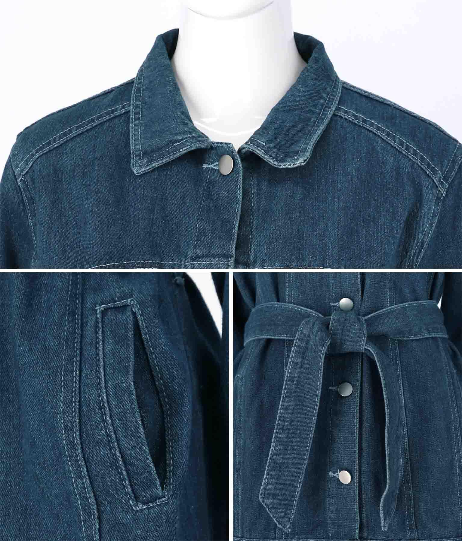 ウエストリボン付デニムジャケット(アウター(コート・ジャケット) /ジャケット・ブルゾン) | CHILLE