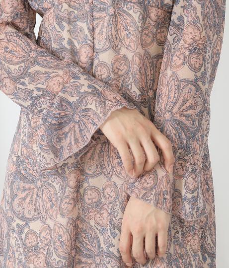ペイズリー柄フリル袖シフォンワンピース(ワンピース・ドレス/ロングワンピ) | CHILLE