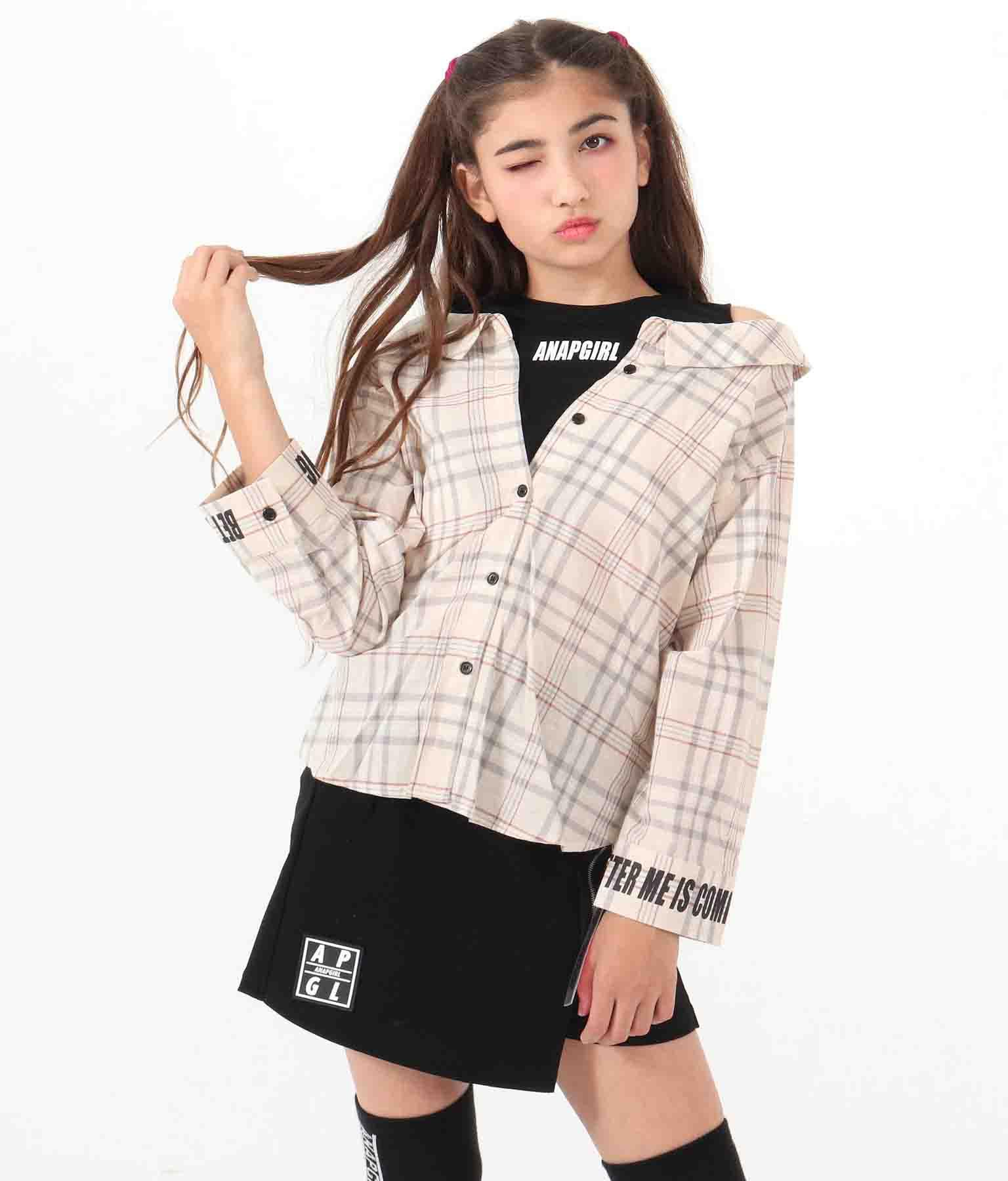 オフショルダーチェックシャツトップス(トップス/チェックシャツ・シャツ・ブラウス)   ANAP GiRL