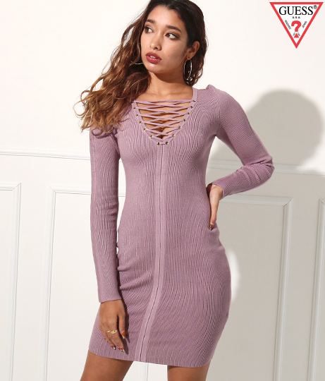 GUESS LS SELBY LACED FRONT RIB DRESS