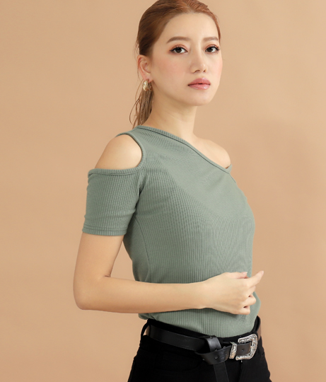 カットリブワンショル半袖トップス(トップス/Tシャツ・カットソー )   ANAP