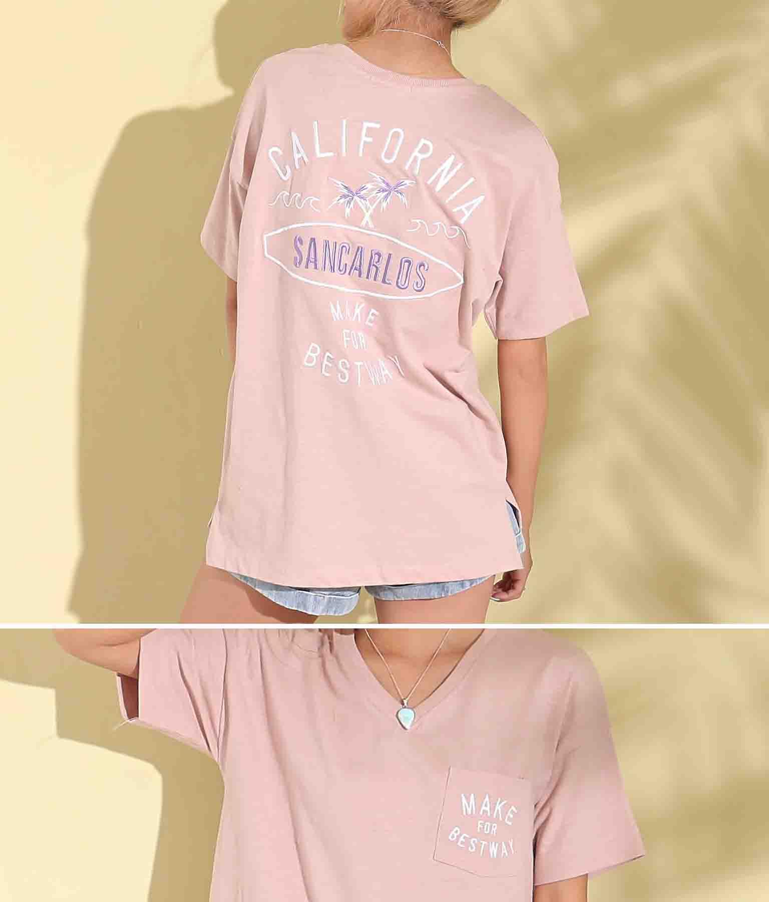 スラブCALIFORNIA刺繍Tシャツ