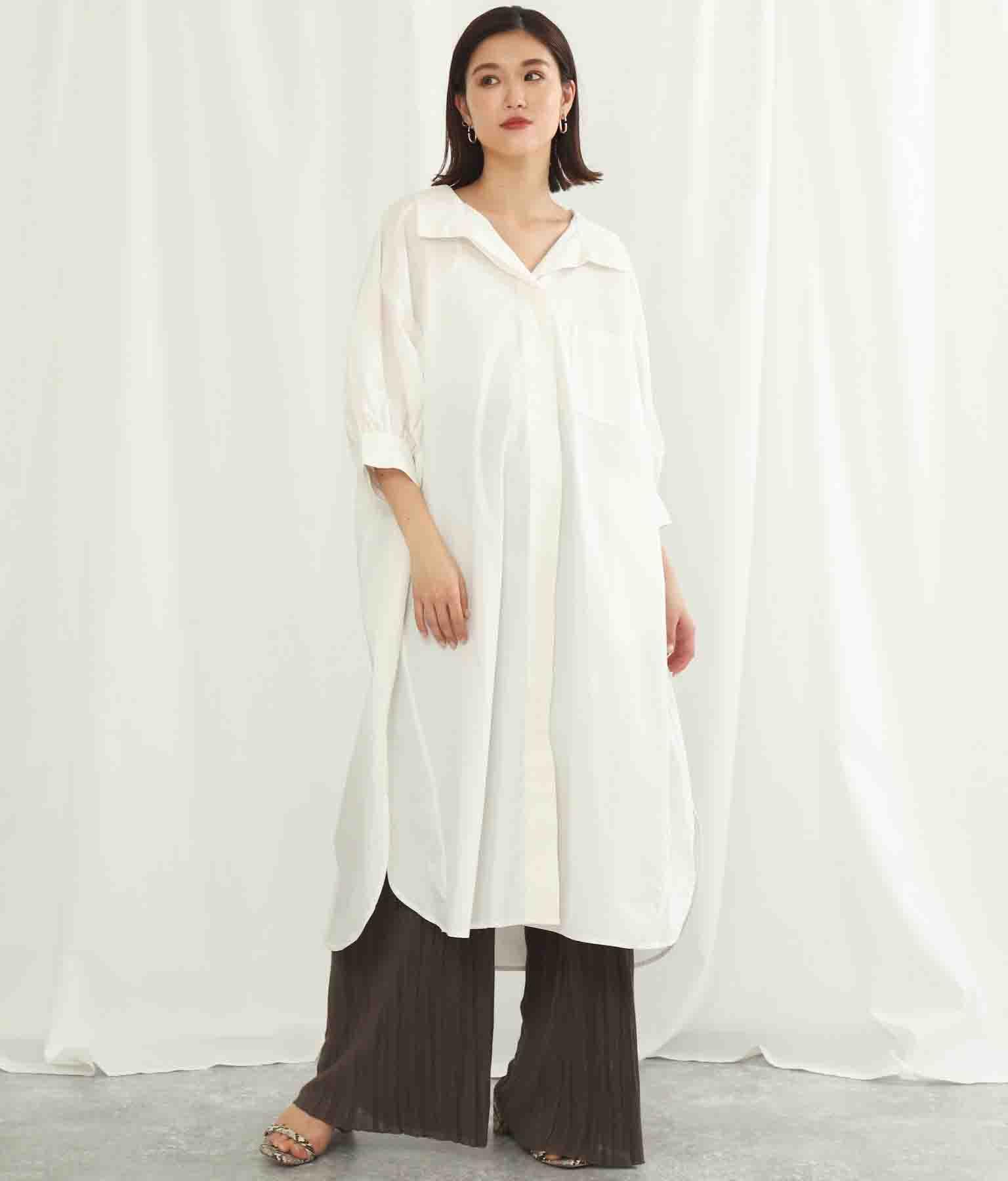変形スリーブシャツワンピース(ワンピース・ドレス/ロングワンピ)   Alluge