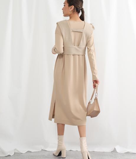 ベスト付レイヤードワンピース(ワンピース・ドレス/ロングワンピ)   Alluge