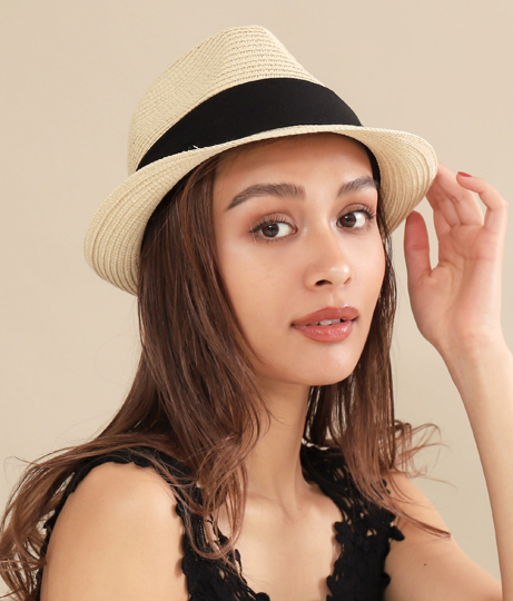 UVバックリボン中折HAT