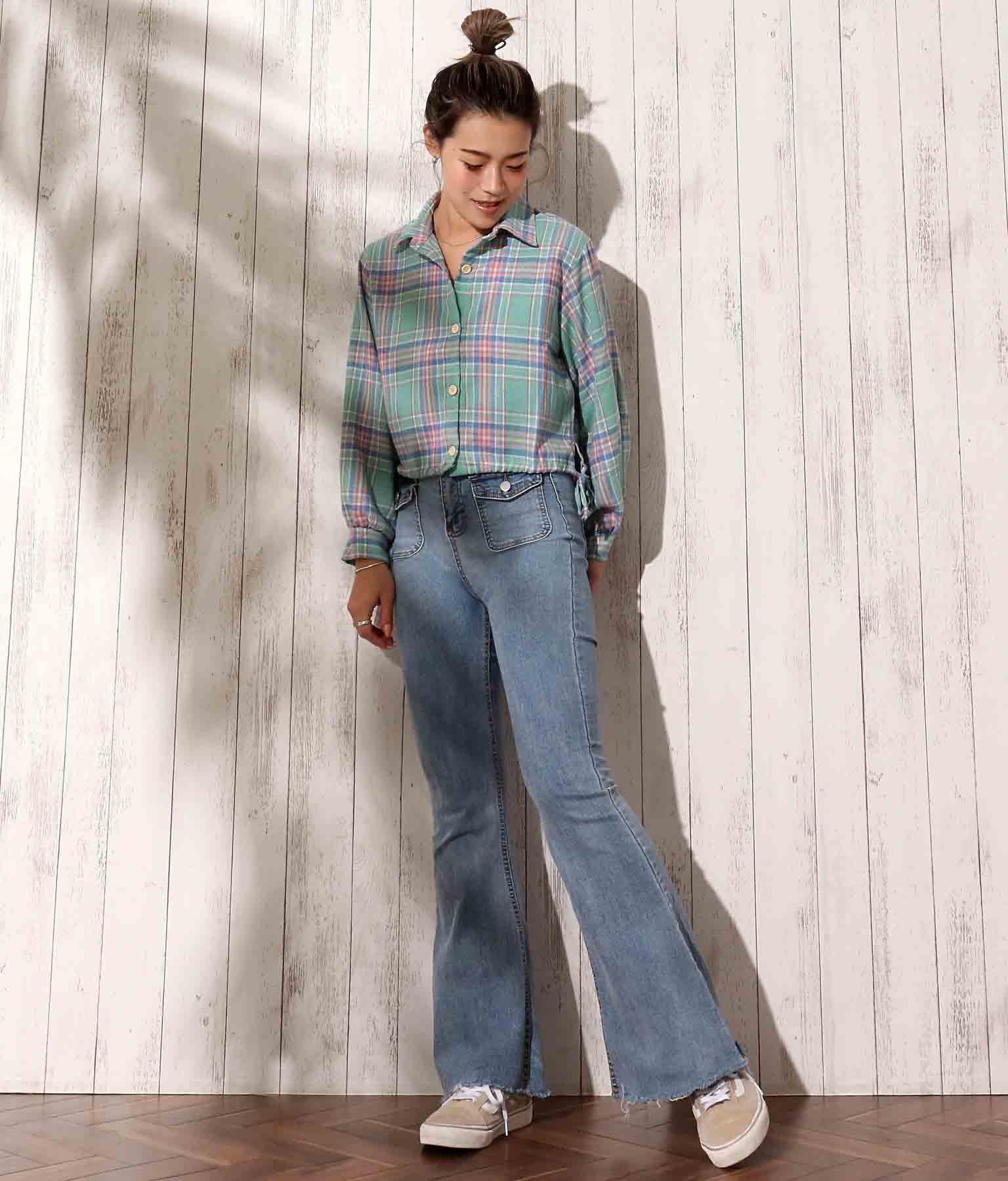 ショート丈チェックシャツ | anap mimpi