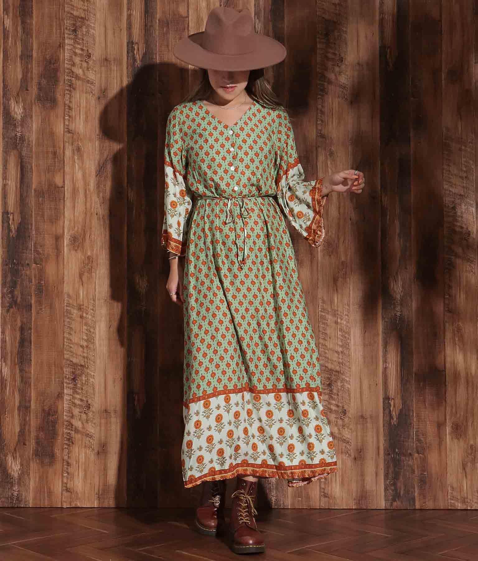 裾フレアオリエンタルフラワーワンピース(ワンピース・ドレス/ロングワンピ・マキシ丈ワンピース) | anap mimpi