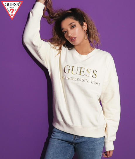 GUESS LS GOLD EMBOSSED SWEATSHIRT