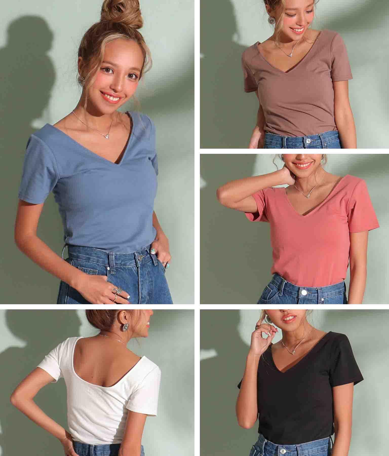 カップインVネックTシャツ