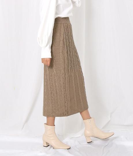 ケーブル編みラップタイトスカート(ボトムス・パンツ /ミモレ丈スカート・スカート) | Settimissimo