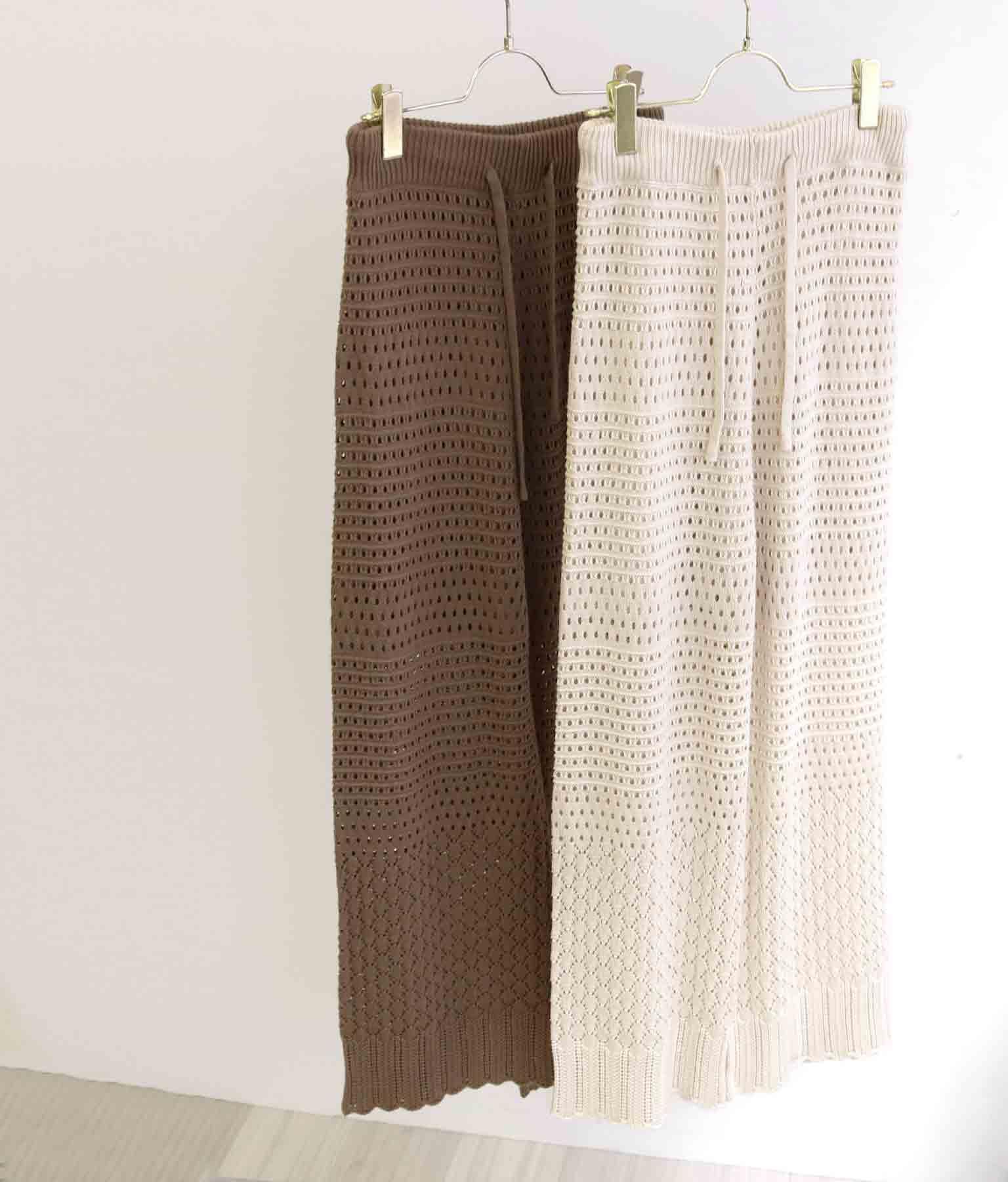透かし編み柄ワイドパンツ