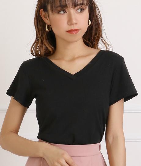 両VネックシンプルTシャツ