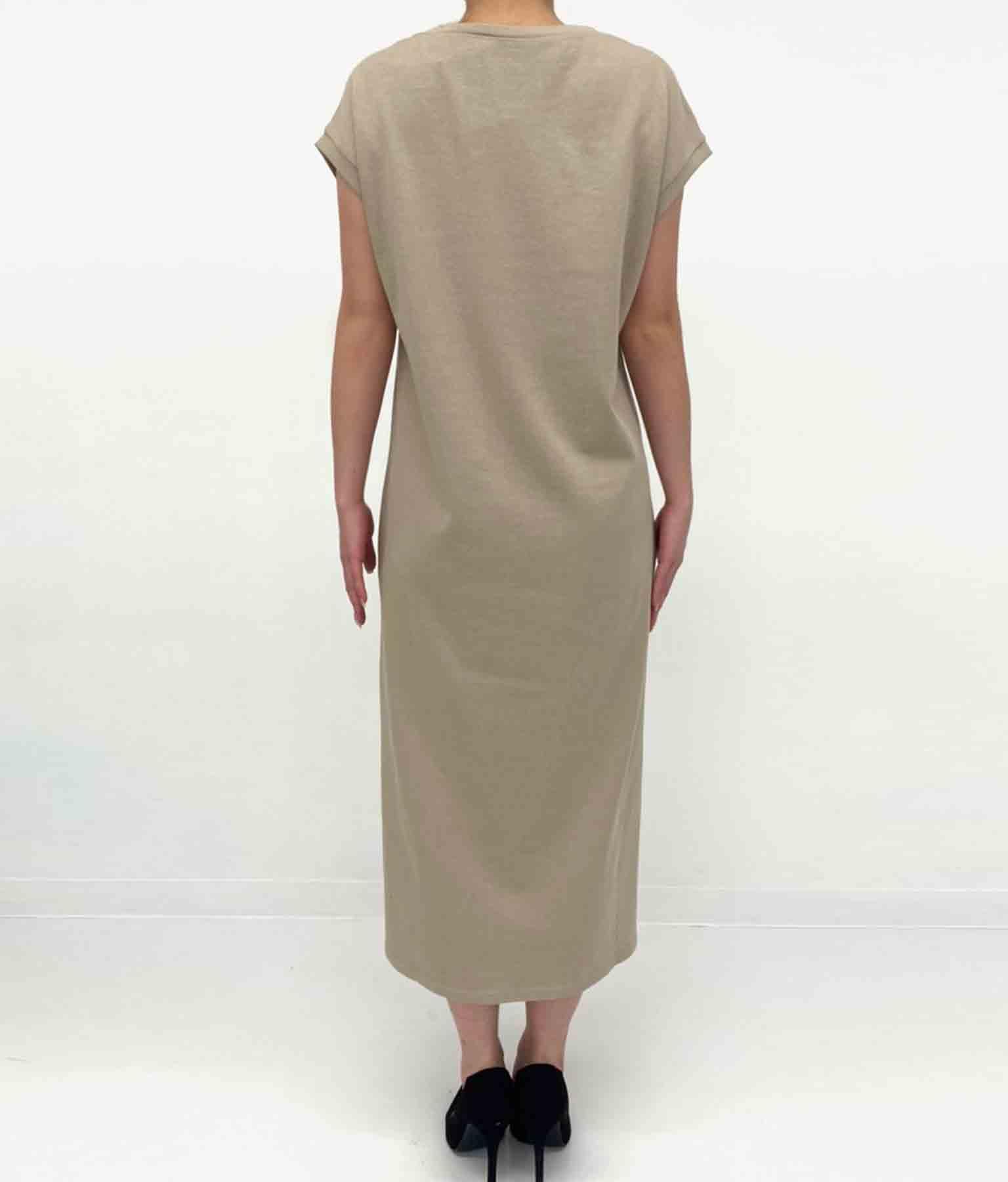 フレンチスリーブクルーネックシンプルワンピース(ワンピース・ドレス/ロングワンピ) | CHILLE