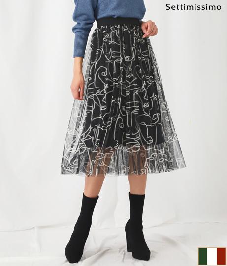 フェイスモチーフチュールカバードスカート