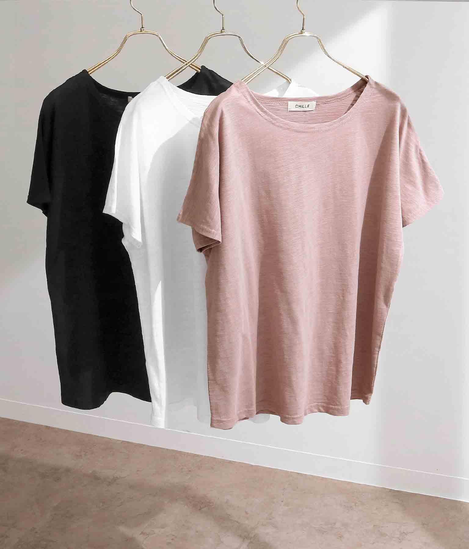 綿スラブ裾ラウンドTシャツ
