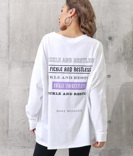 バックビッグプリントロングTシャツ