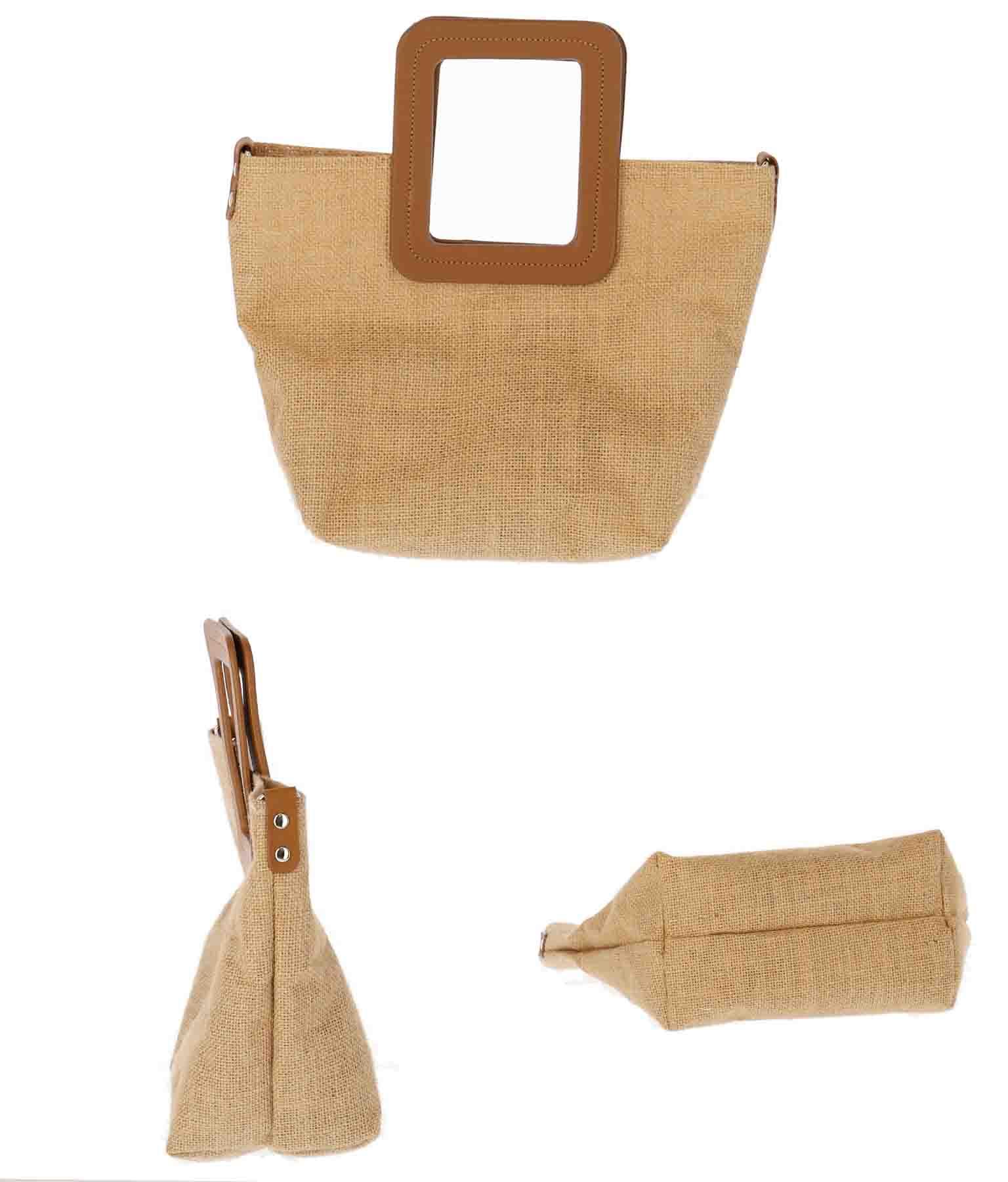 スクエアハンドル麻バッグ(バッグ・鞄・小物/ハンドバッグ) | CHILLE