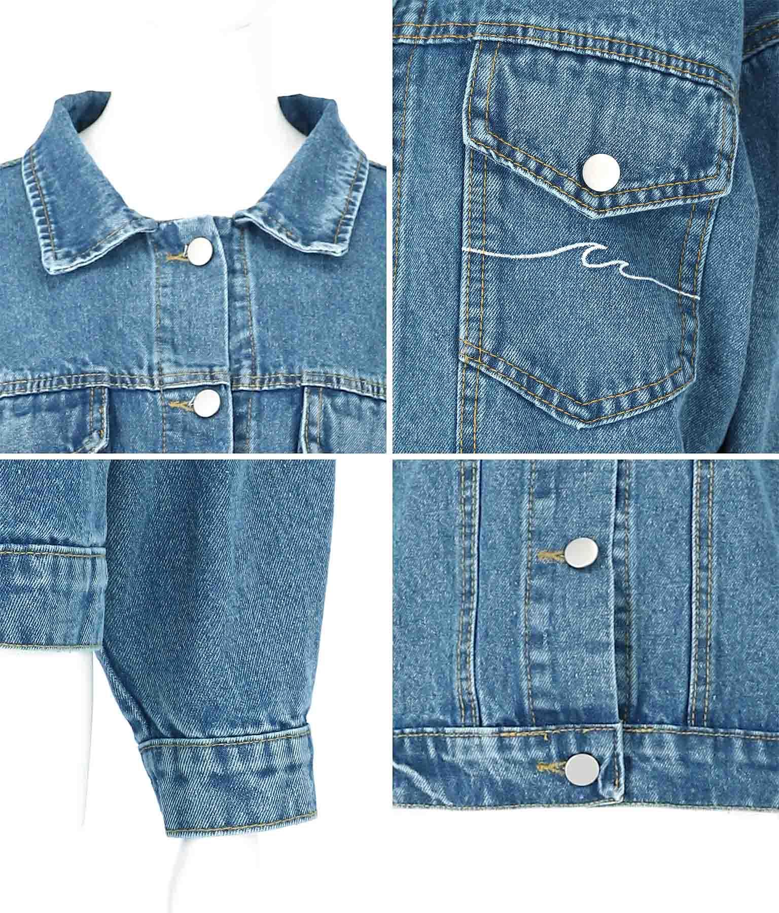 ウェーブ刺繍ドロップショルダーデニムジャケット(アウター(コート・ジャケット) /ジャケット・ブルゾン) | anap mimpi