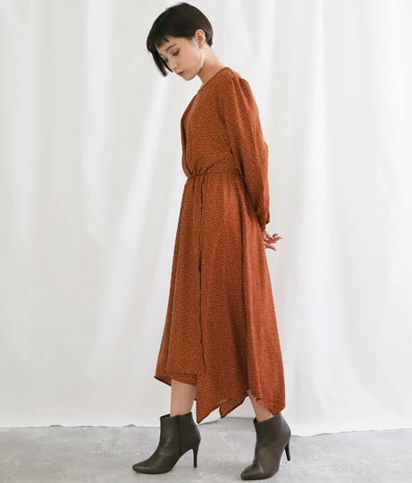 小紋柄ジョーゼットワンピース(ワンピース・ドレス/ロングワンピ) | Alluge