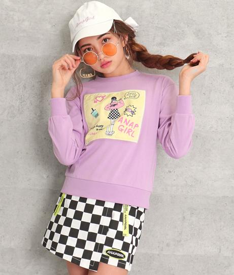 モチーフファッショニスタロングTシャツ(トップス/Tシャツ・カットソー ・ロングTシャツ・スウェット・トレーナー)   ANAP GiRL