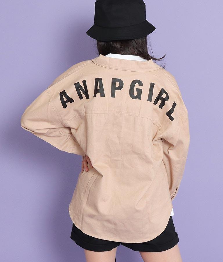 バックプリントワッペン付きツイルシャツ(トップス/シャツ・ブラウス)   ANAP GiRL