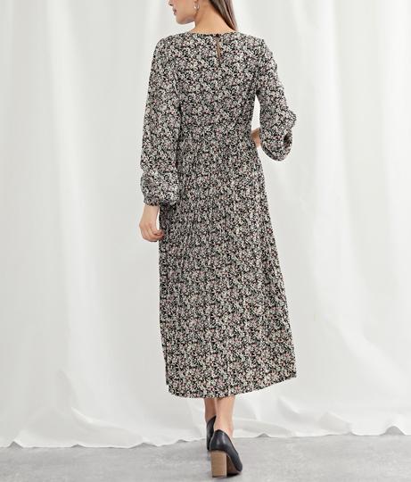 ボタニカルプリントアコーディオンプリーツワンピース(ワンピース・ドレス/ロングワンピ) | Alluge