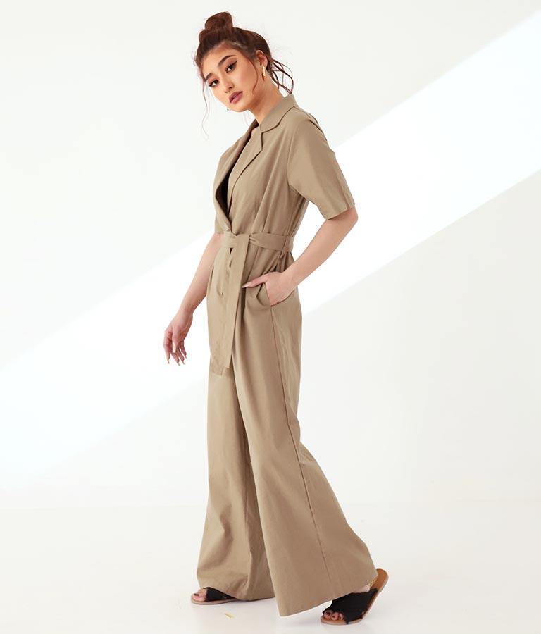 リネンタッチベッコウボタン開襟オールインワン(ワンピース・ドレス/サロペット/オールインワン)   anap Latina