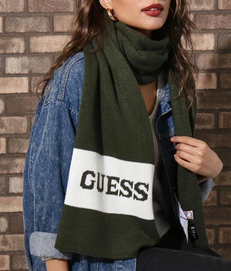 GUESS Knit scarf border(ファッション雑貨/マフラー・ストール ・スヌード・スカーフ ) | GUESS