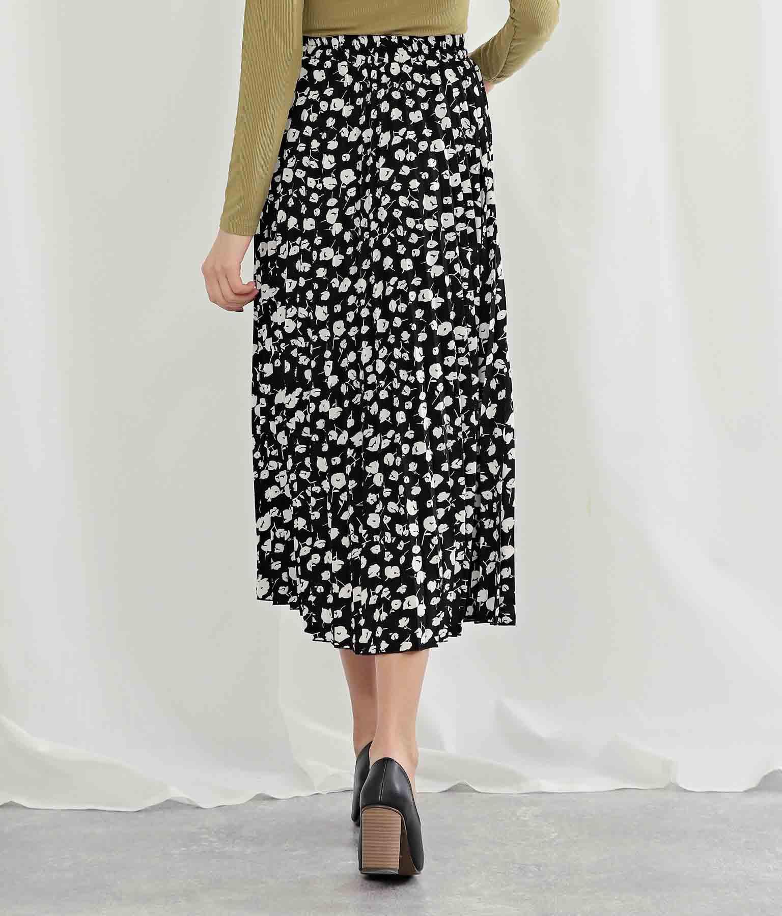 モノトーンフラワープリントプリーツスカート(ボトムス・パンツ /スカート) | Alluge