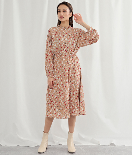 プチハイネックフラワープリントワンピース(ワンピース・ドレス/ミディアムワンピ) | Alluge