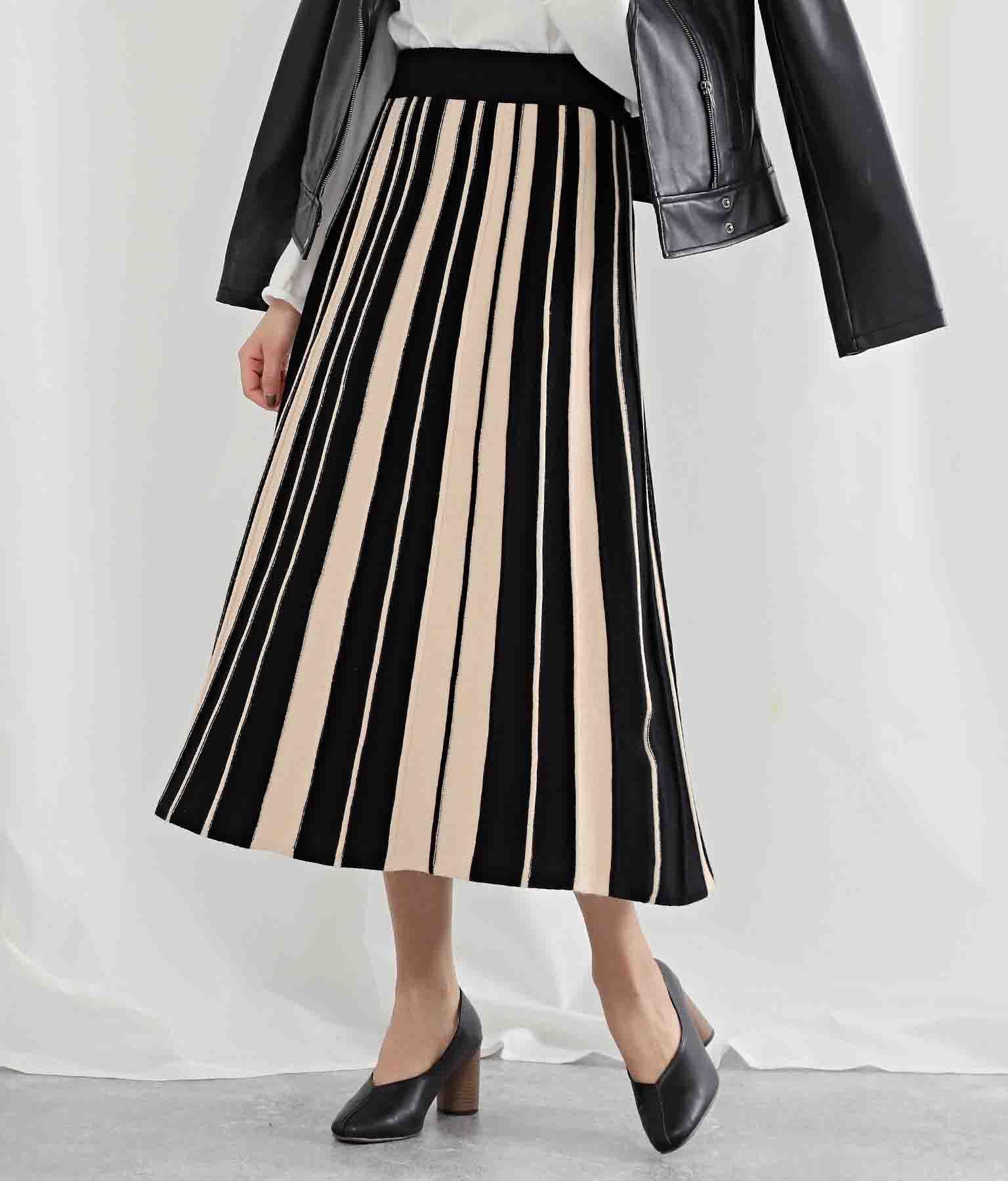ランダムプリーツバイカラーニットスカート(ボトムス・パンツ /ミモレ丈スカート・スカート) | Settimissimo