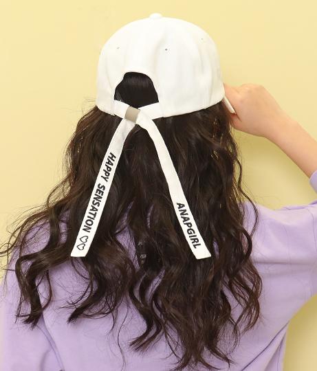 後リボンメッセージキャップ(ファッション雑貨/ハット・キャップ・ニット帽 ・キャスケット・ベレー帽)   ANAP GiRL