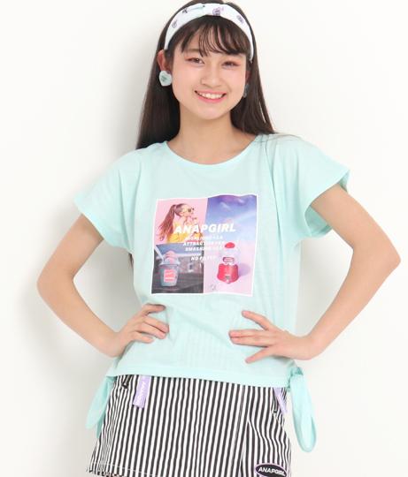 フォトプリントサイド結びTシャツ