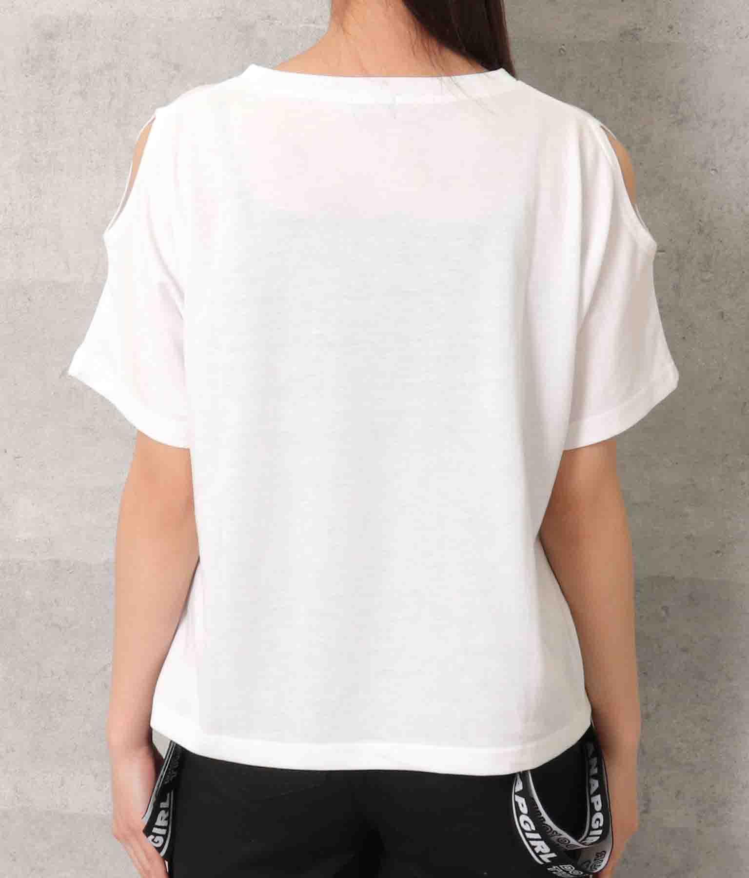 ハートアキ肩見せTシャツ(トップス/Tシャツ) | ANAP GiRL