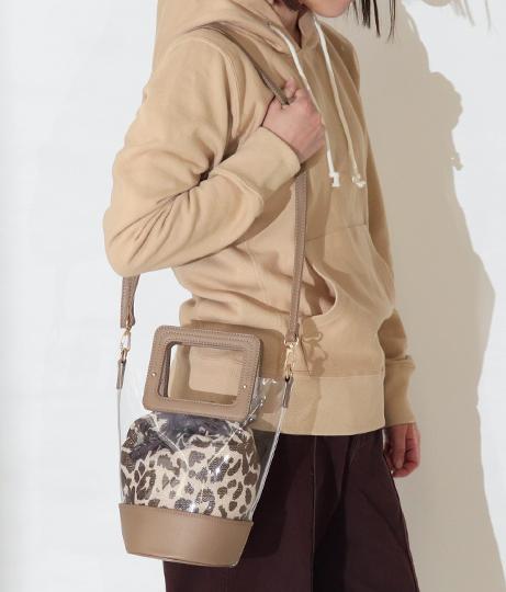 レオパード巾着付きクリアトートバッグ