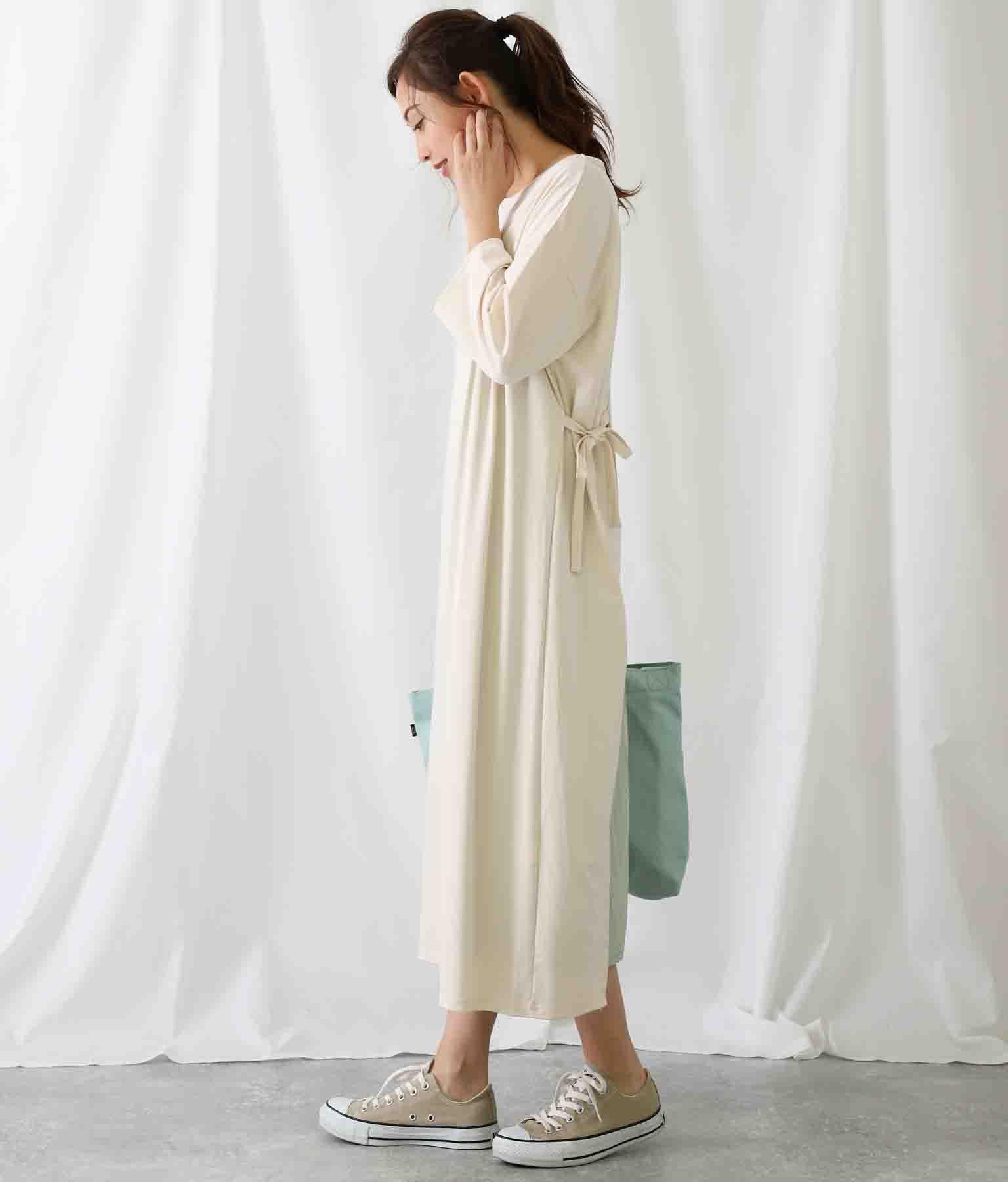 プリーツワンピース付バックカシュクールワンピース(ワンピース・ドレス/ロングワンピ) | Alluge